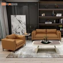 Современный желтый кожаный офисный Диванный кофейный столик для гостиной