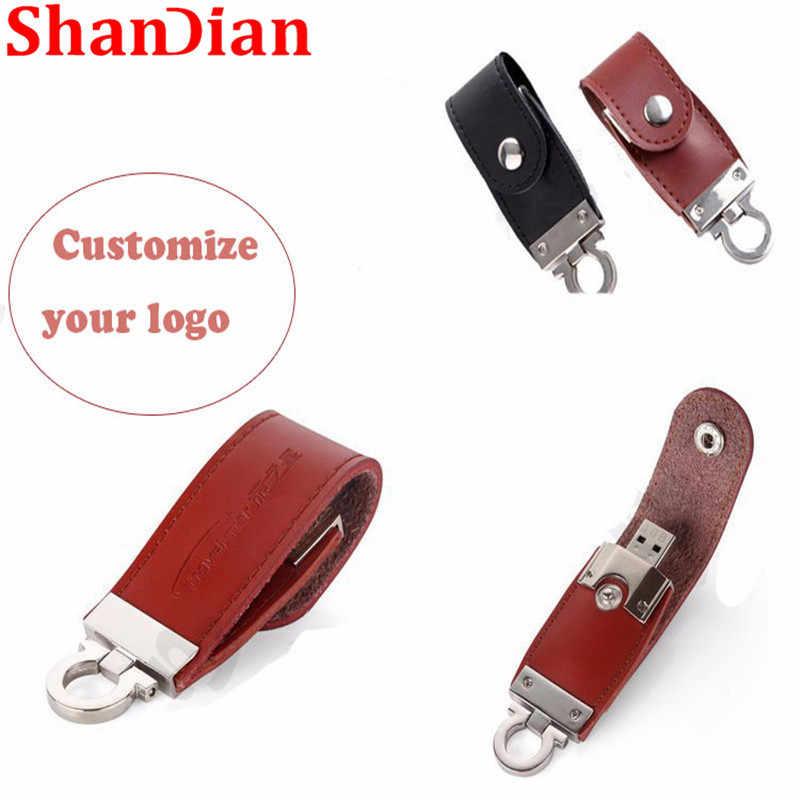 SHANDIAN Promocional atacado pele de couro usb flash drive pen drive chaveiro 16gb gb 64 32 GB usb 2.0 memória creativo moda s