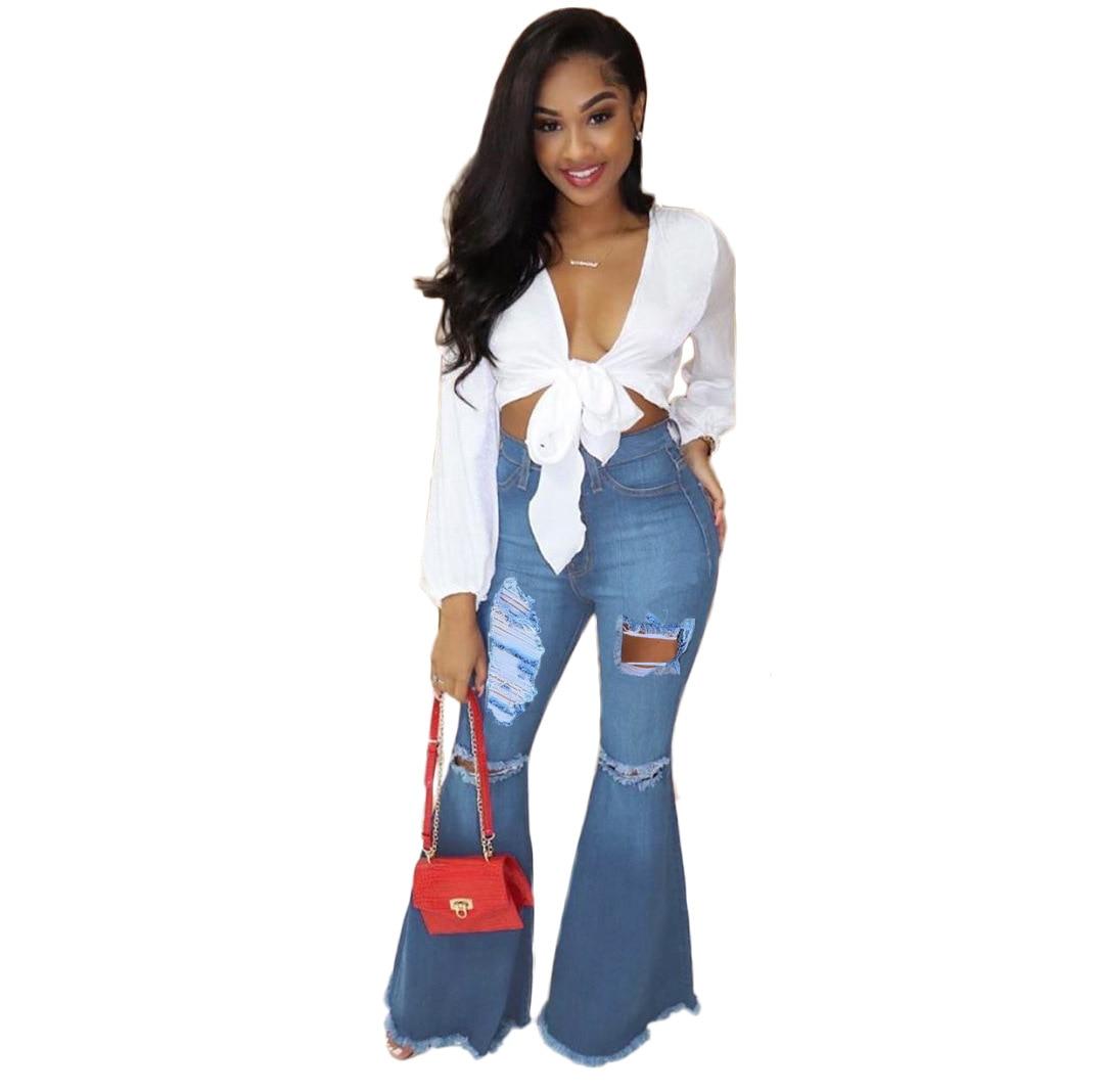 Autumn Winter Women Jeans Broken Hole Hollow Out Tassel Flare Long Denim Pants Plus Size Jeans