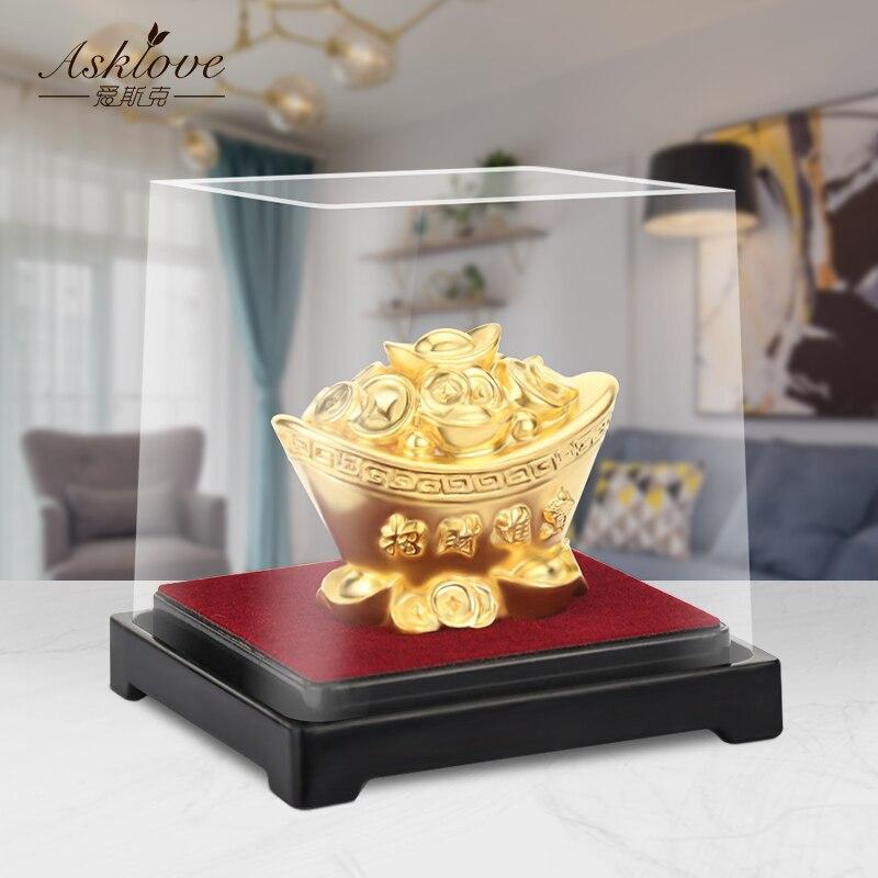 Ornamentos de mesa de lingote de ouro chinês fengshui decoração mascote 24k folha de ouro yuanbao miniaturas estatuetas decorações decoração para casa artesanato