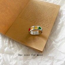 Vintage bohemia colorido esmalte amor coração anel bonito simples metal prata cor anéis para mulher punk rock jóias