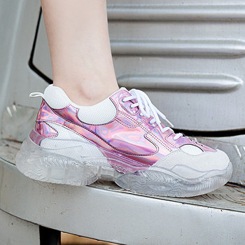 YECHNE  Transparent Women Sneakers Shoes For Papa Women Thick Soles Walking Shoes Platform Women Veterinary Clothing