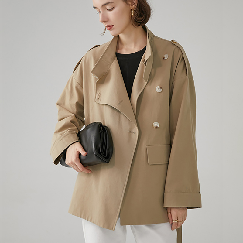 LANMREM 2019 New Pattern Fashion Trend Full Sleeve Slim Thin Solid Color Vintage Turn Down Collar Short Female   Trench   Coat AI934