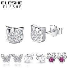 ELESHE authentique 925 boucles d'oreilles en argent Sterling cristal papillon chat chien petites boucles d'oreilles pour femmes enfants bijoux de mode cadeau