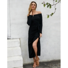 New Arrival Off Shoulder Sexy Long Sleeve Dress 2019 Sexy Split The Fork Dress Women Elegant Slash Neck long Dress Vestido Black sexy long sleeve off the shoulder belt design sweater dress for women