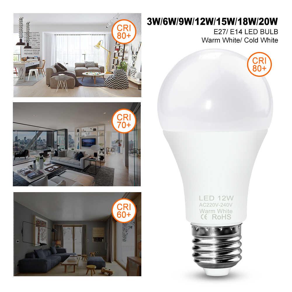 E27 หลอดไฟ LED E14 LED 12W 220V จุดหลอดไฟ 3W 6W 9W 15W 18W 20W Lampada LED Spotlight โคมไฟ 240V 2835SMD