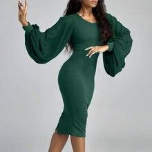 Женское приталенное платье с длинным рукавом элегантное шифоновое