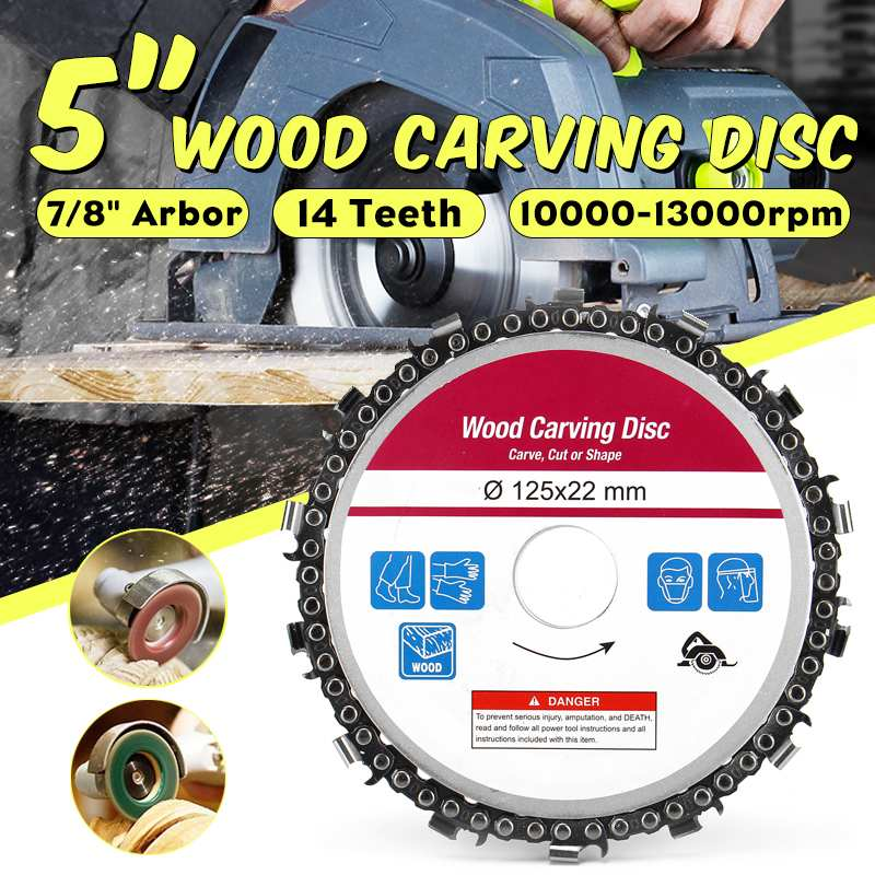 DOERSUPP 5 Inch Wood Carving Disc 14 Teeths Woodworking Chain Grinder Chain Saws Disc Chain Plate Tool For 125mm Angle Grinding