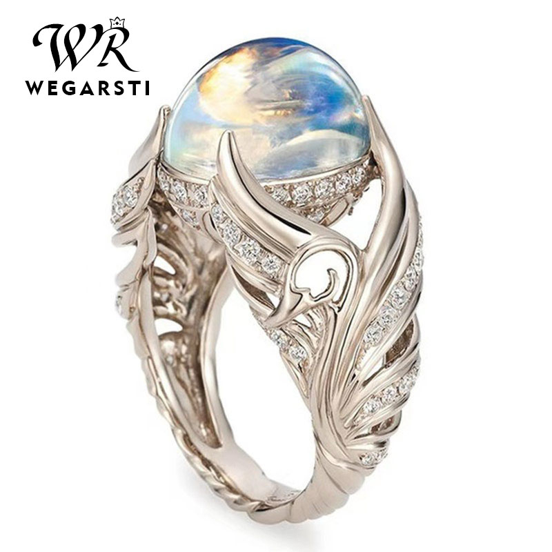 WEGARSTI Vintage Colorful Big Circular Cut Rings For Women 925 Sterling Silver Ring With Angel Wings Moonstone Femme Jewelry