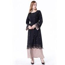 ОАЭ размера плюс черный Халат абайя для женщин Дубай Кафтан бисер кружево мусульманское платье Турецкий Femme Макси хиджаб мусульманская молитва