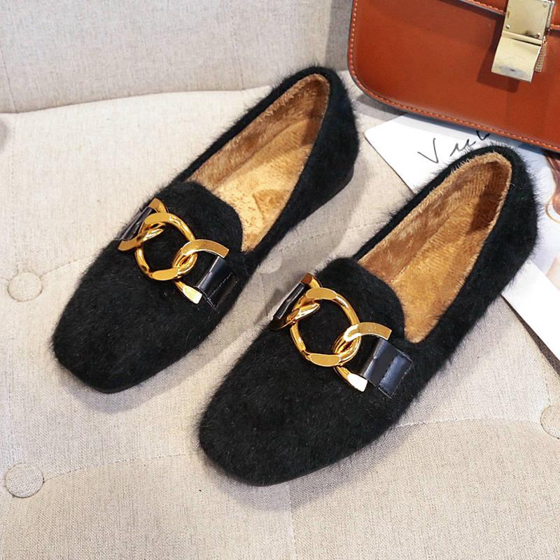 Women Shoes Fur Shoes Woman Autumn Winter Short Plush Flat Shoes Women Loafers Ladies Shoes Zapatillas Mujer chaussures femme 44