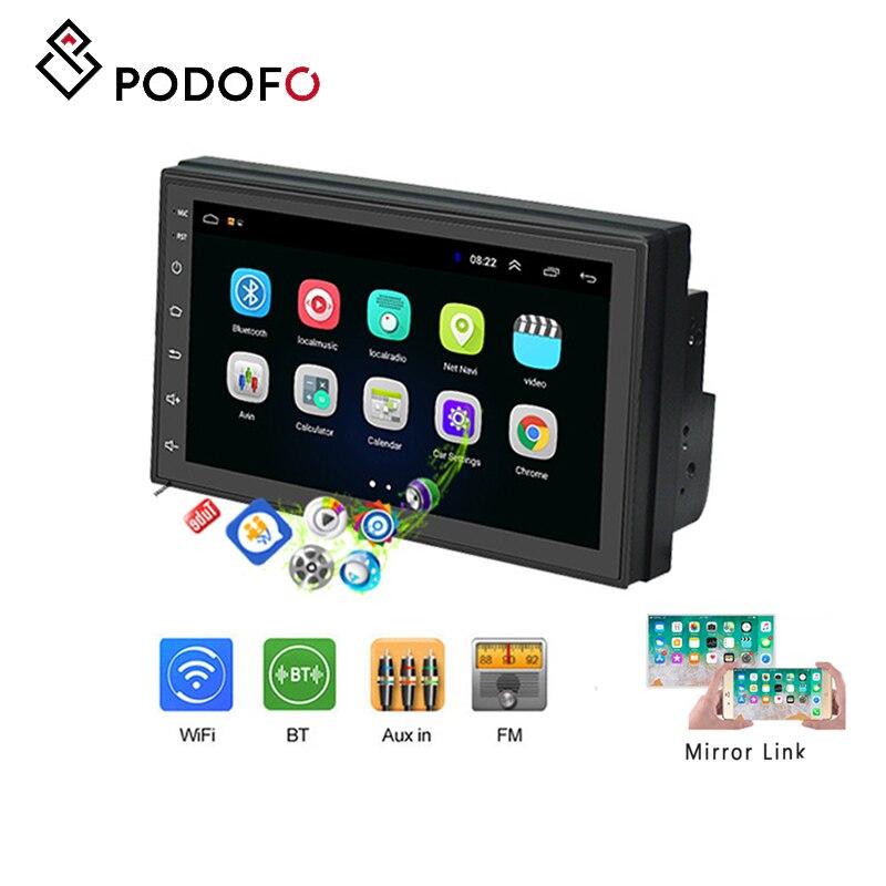 Podofo autoradio 2 din 7 ''Android 8.1 IOS/Android miroir lien écran tactile avec Bluetooth WIFI GPS FM radio soutien caméra arrière