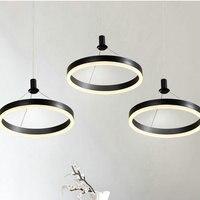 20 CM/30 CM Moderne LED Ring Anhänger Licht Schwarz Weiß Kaffee Metall Acryl Wandlampen Esszimmer Bar Kreis runde Haning Lampe-in Pendelleuchten aus Licht & Beleuchtung bei