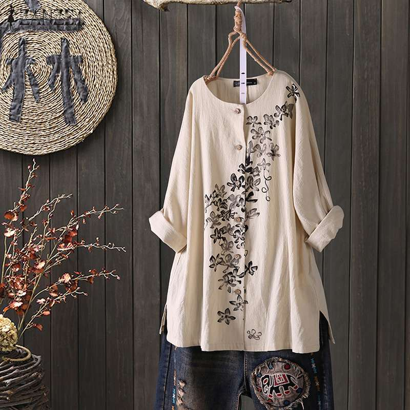 ZANZEA Women Vintage Floral Printed Blouse Long Sleeve Buttons Down Shirts Autumn Cotton Linen Tops Casual Loose Blusas Chemise