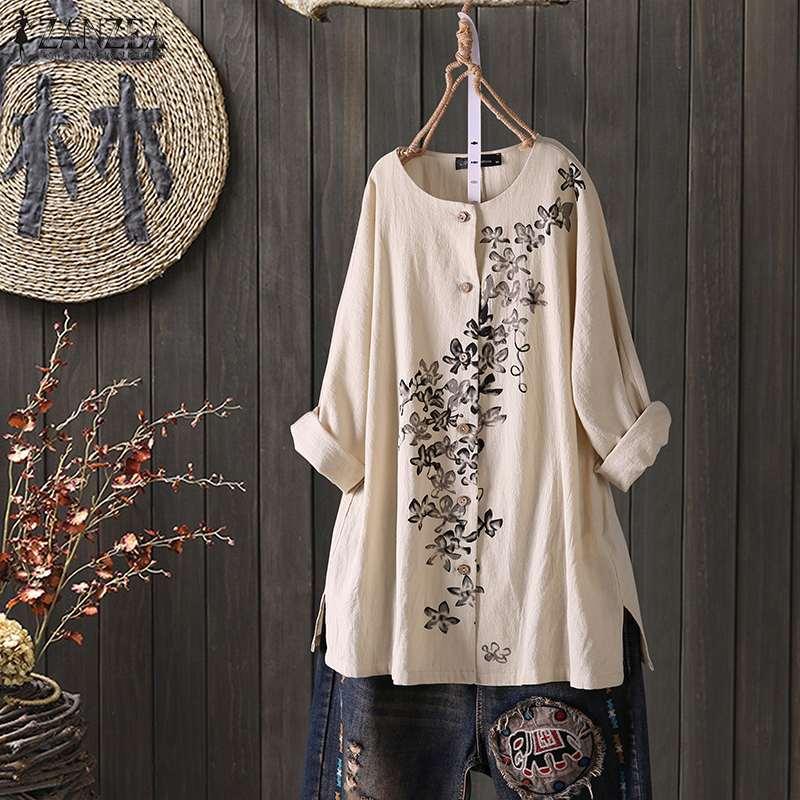ZANZEA Women Vintage Floral Printed Blouse Long Sleeve Buttons Down Shirts Autumn Cotton Linen Tops Casual Loose Blusas Chemise