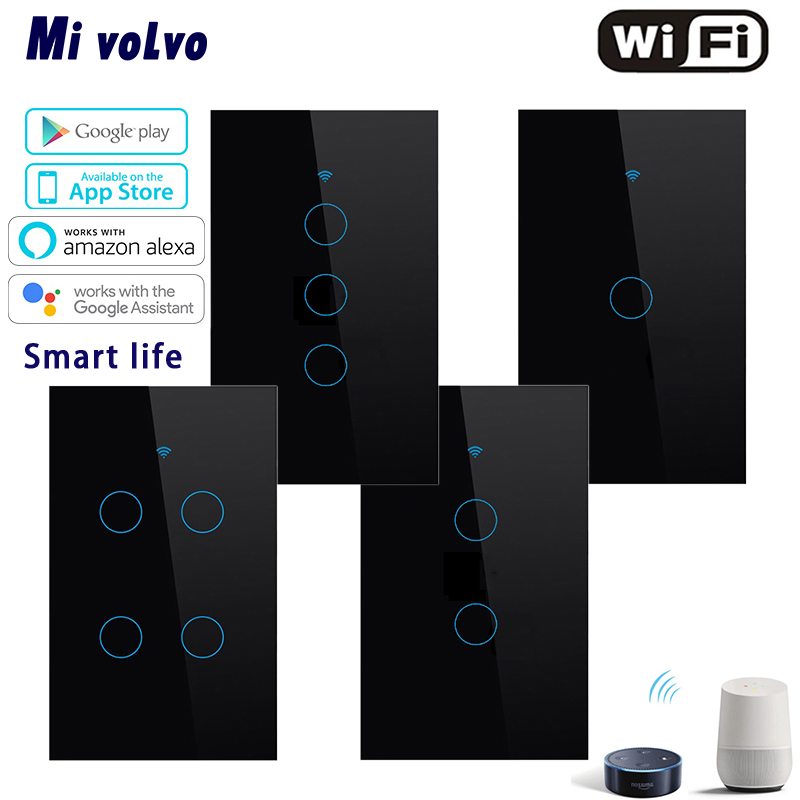 WIFI Smart Touch Switch Smart Life APP Wireless Remote Control US Standard 1/2/3 / 4gang Light Switch