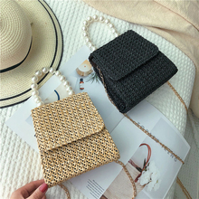 Bag Female 2020 National Style Pearl Woven Hand Bag Straw Woven Beach Single Shoulder Female Bag dusun summer hand woven straw bag ribbons bamboo package weaving bohemian holiday beach bag bow hollow female causal box totes