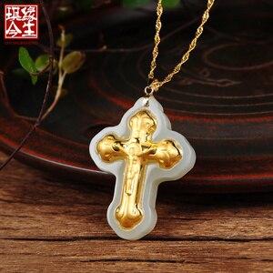 Китайское винтажное Золотое Нефритовое ожерелье с подвеской из натурального хотанского нефрита ожерелье