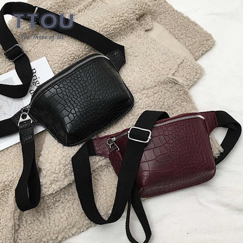 TTOU Fashion Women Waist Bag Crocodile Chest Belt Bag Clutch Female Pu Leather Handbag Cross Body Pouch Bag Fanny Pack Sachet