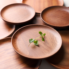 Musowood Japanese Style Solid Wood Round Dish Household Black Sapele Plate Snack Snack Plate Bread Plate Dried Fruit Snack Desse