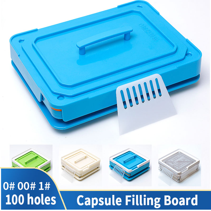 0 # 00 # ABS Transparent Acrylic Material Manual Capsule Filling Machine Capsule Filling Tool 100 Hole Filling Machine