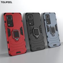 Funda armadura a prueba de golpes para Huawei Honor V40, soporte magnético de anillo de coche, funda trasera para teléfono Honor V40
