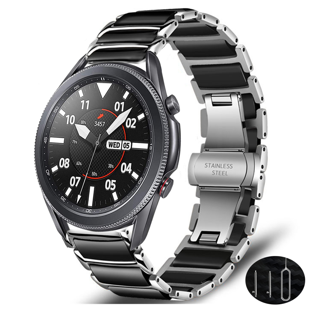 Correa de cerámica para samsung galaxy watch 3, 45mm, 41mm, active 2, amazfit bip, huawei watch gt 2e 2