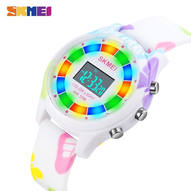 SKMEI Цветной LED Свет Дети Электронные Часы Детские Наручные часы 5 бар Водонепроницаемый Цифровой Спорт Часы Для Мальчиков Девочек 1596