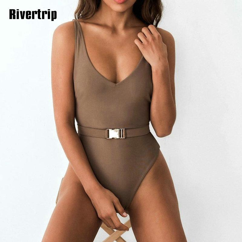 Одноцветный купальный костюм с бретельками, модель 2020 года, сексуальный купальник для женщин, с поясом, с высокой посадкой, пляжная одежда, u-... 18