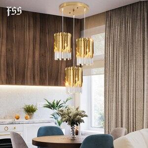 Image 2 - Nowoczesny luksusowy złoty kryształ mały okrągły żyrandol oświetlenie Led do jadalni wyposażenie sypialni kuchnia wyspa