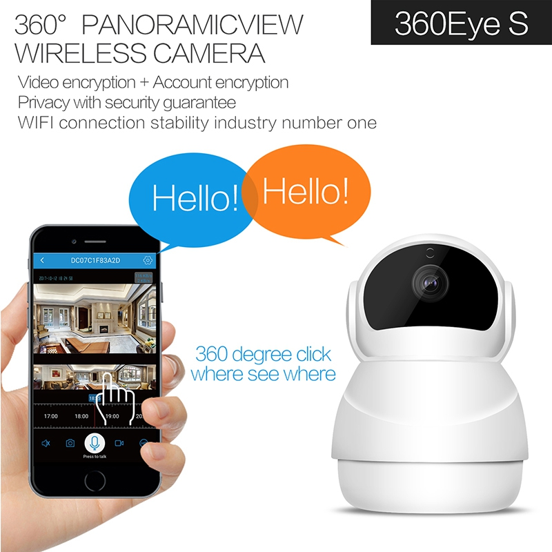 Newest Wifi Camera 360Degree Fisheye Indoor PTZ IP Camera 1080P Home Security CCTV Camera Baby Monitor Motion Detection