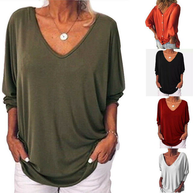 Women's 3/4 Sleeve V-Neck Tee Shirts Plus Size Large Back Button Tops T-shirt New Fashion