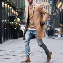 Autumn Winter Mens Brand Fleece blends Jacket Male Overcoat Casual Solid Slim collar coats Long cott