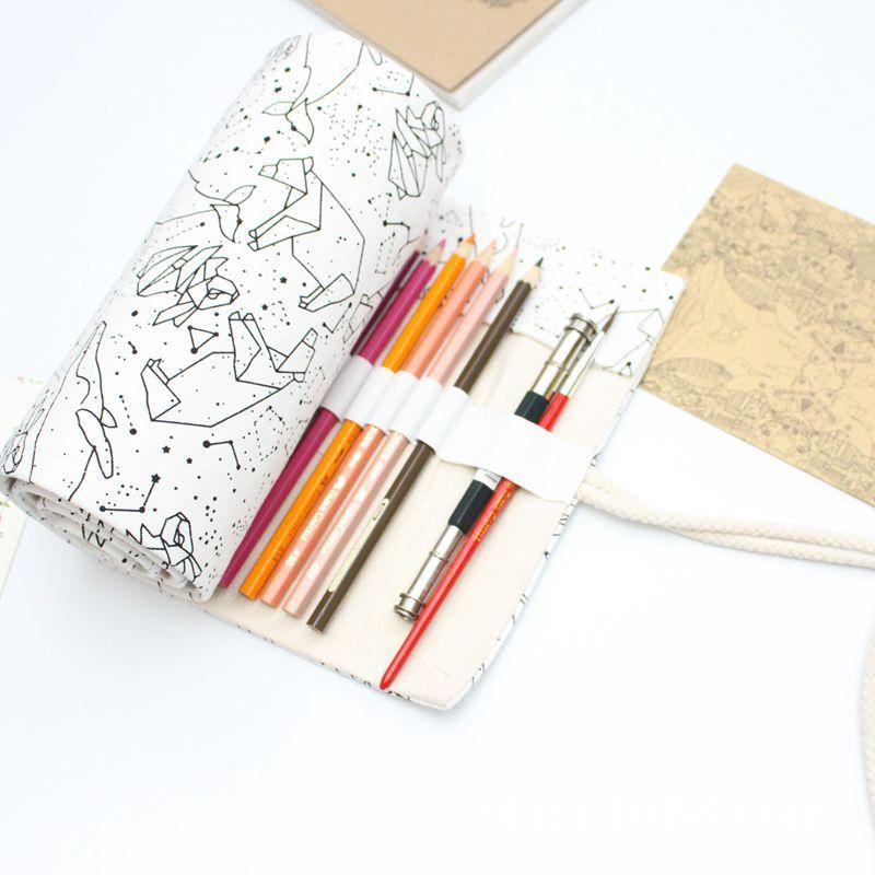 Kawaii Star Roll School Pencil Case For Girls Boys Pencilcase Big 36/48/72 Holes Penal Bag Black Large Cartridge Stationery Kit