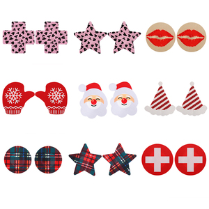 FINETOO 3Pairs/set Nipple Covers Reusable Breast Petals Santa Claus Cross Stick On Bra Pad Pasties Lingerie For Women Intimates
