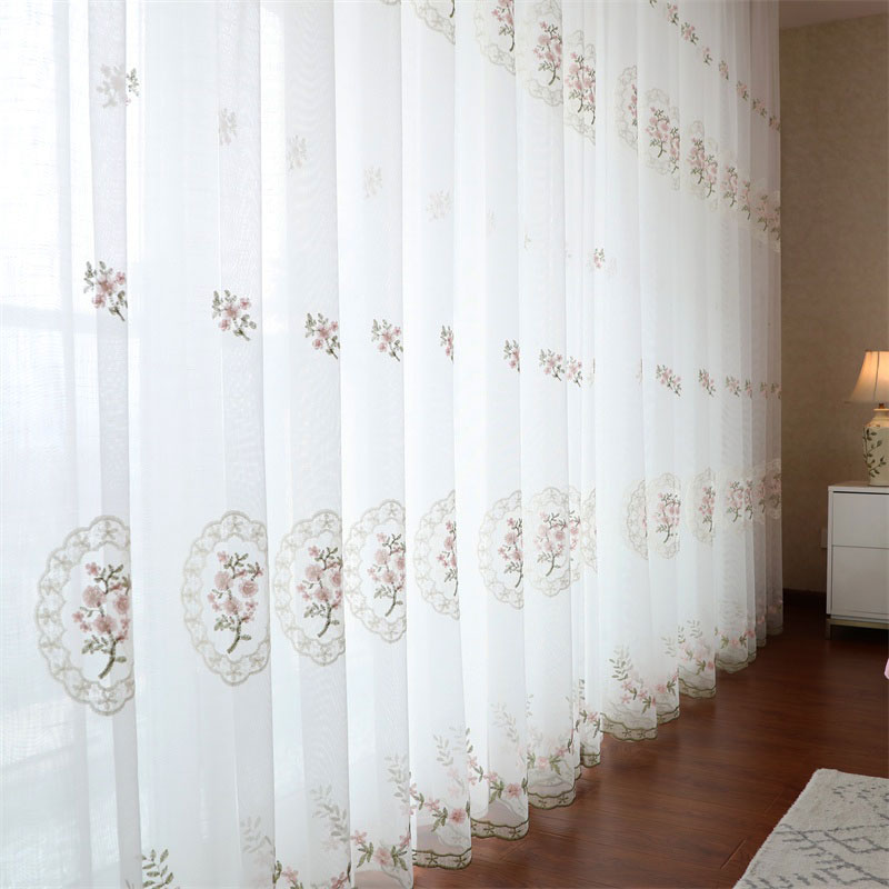 Floral Embroidered Tulle Curtains for Bedroom Window Treatments Europe Sheer Voile For Livingroom Kitchen Drapes Blind Decor