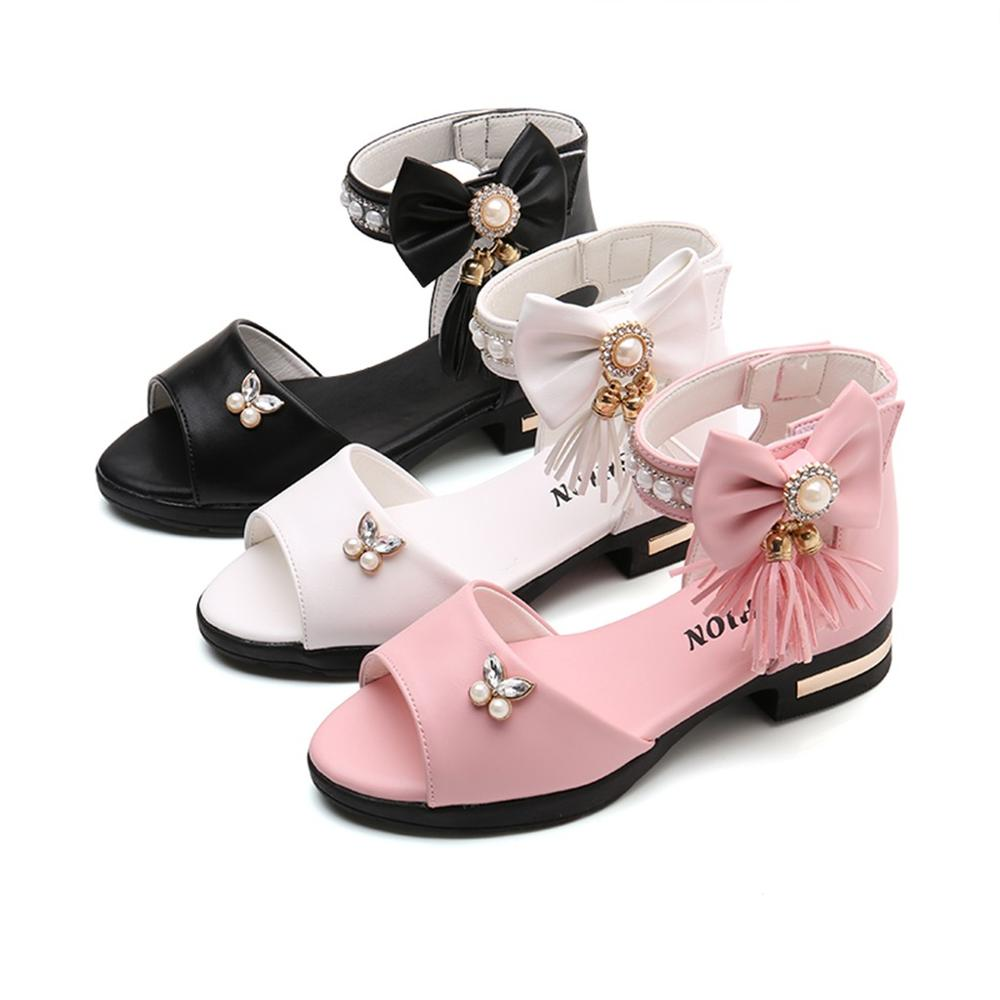 Girl Sandals Children Infant Girls Fringe Roma Bowknot Crystal Single Princess Sandals Shoes Sandale Fille8.958gg