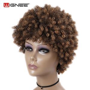 Image 3 - Wignee короткие волосы афро кудрявые вьющиеся термостойкие синтетические парики для женщин смешанный коричневый Косплей африканские прически повседневные волосы парик