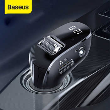 Baseus Car AUX Bluetooth Adapter Handsfree Car Kit Auto Mp3 Player Bluetooth Receiver With Dual USB Car Charger FM Transmitter