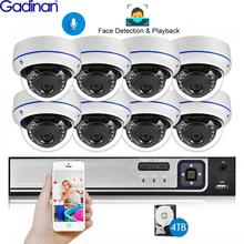 Gadinan Face Detection 8CH 5MP NVR CCTV Security Kit System POE Audio Record Dome Outdoor