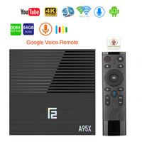 Android 9.0 Smart TV Box A95X F2 4GB 64GB Amlogic S905X2 2.4G/5G Wifi BT4.2 Voice Control Google Player Media Youtube Tv box