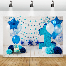Laeacco Blue Balloons Stars Paper Flowers Birthday Backdrops For Photography Backgrounds Baby Shower Photophone For Photo Studio