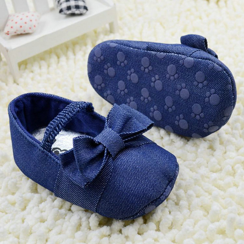 Newborn Child Girl Dark Blue Solid Bow-knot Decor Crib Shoes Soft Canvas Pre-walker Baby Shoes Elastic