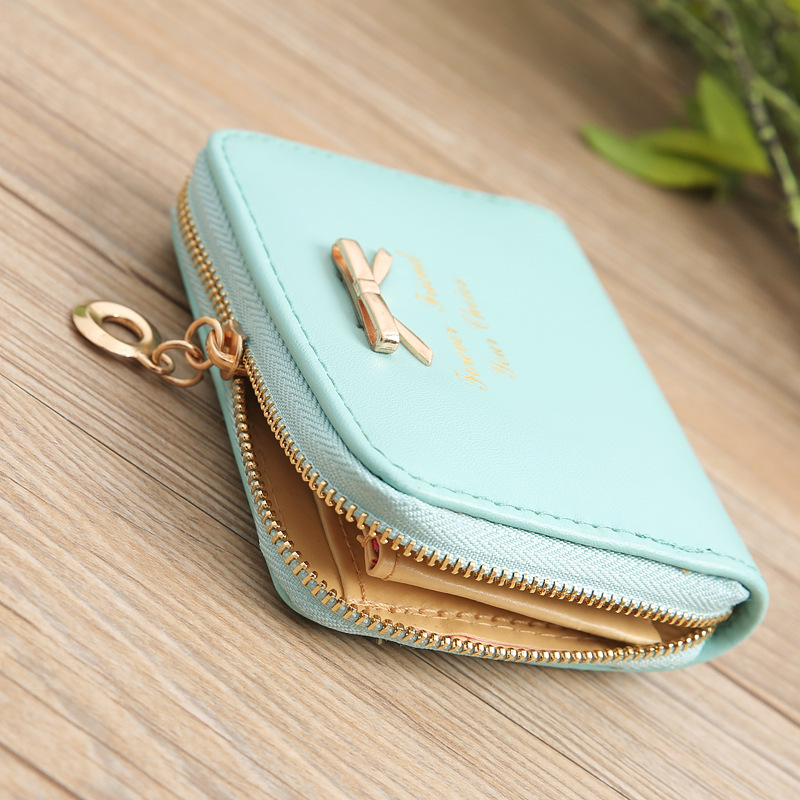 LISM Fashion Ladies Coin Bag Simple Bow Coin Purse Zipper Small Wallet Short Coin Purse Card Holder Women's Bags