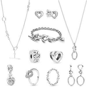 Новый 100% стерлингового серебра 925 пробы, Узелок, сердце, кольцо, серьги, кулон, ожерелье, Fit, сделай сам, женский браслет, оригинальные украшен...