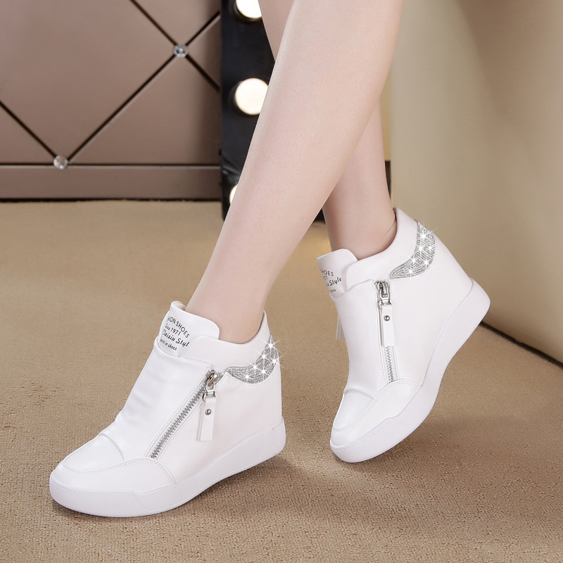 Tleni 2018 Spring White Shoes Women's Increased Women's Shoes Sports Shoes Thick Bottom High Heels Children Summer New ZK-95