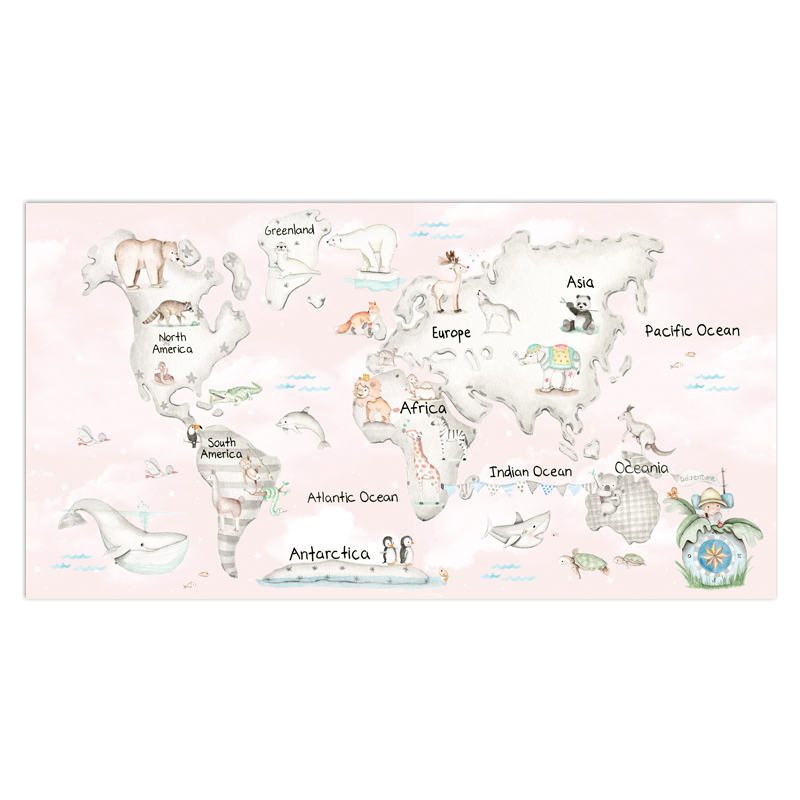 Colorful Carton Animal World Map Poster Size Wall Decoration Large Map Of The World 100x52cm Waterproof Canvas Map