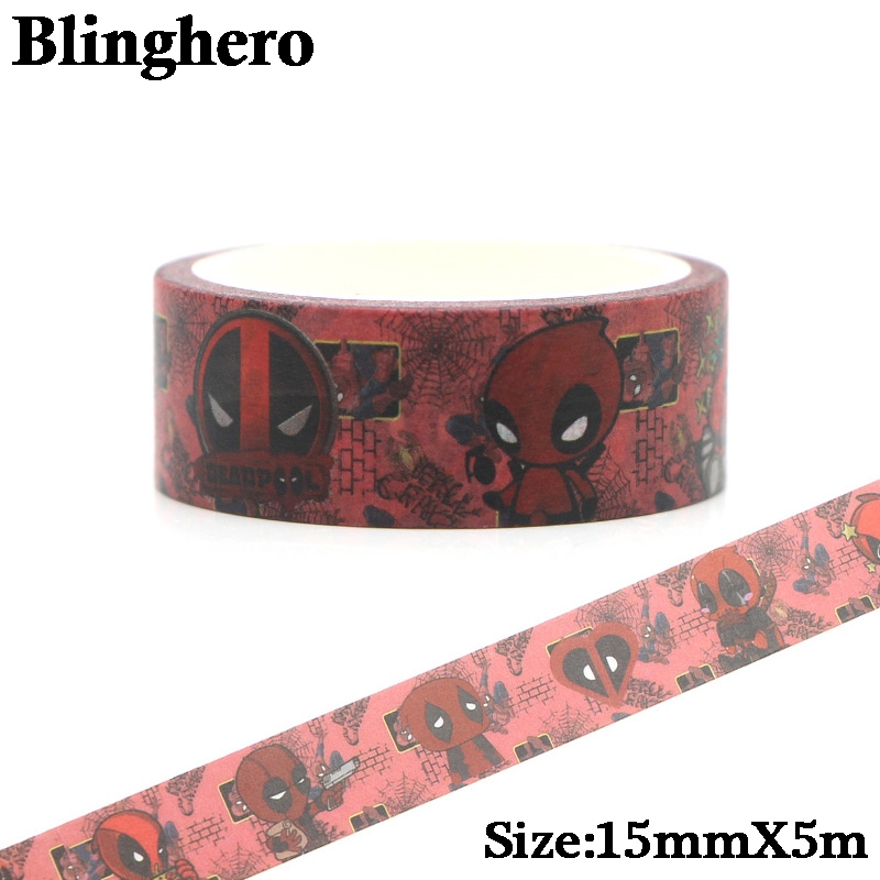 CA164 Deadpool Halloween Washi Tape Adhesive Tape DIY Decoration Sticker Scrapbooking Diary Masking Tape Stationery Sticker 1pcs