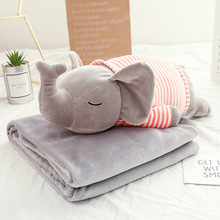 Simanfei Cartoon Pillow Animals Shape Soft Plush Blankets Office Home Multi-function Napping Cushion Kids Room Decoration