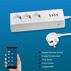 Inteligentna listwa zasilająca urządzenie domowe gniazdo Wifi 3 gniazda AC 4 porty USB Standard ue inteligentne zaopatrzenie domu